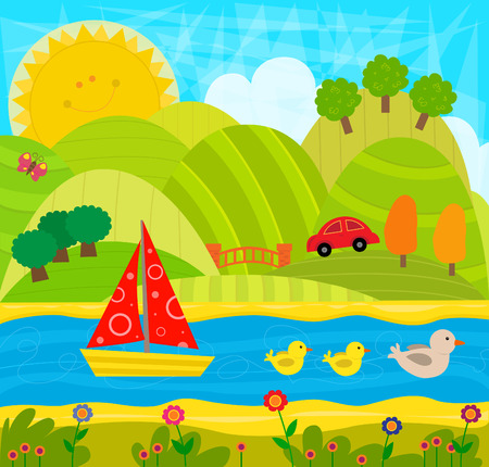Cheerful Day  - Cute playful imaginative landscape with hills, river and animals. Eps10 Ilustração