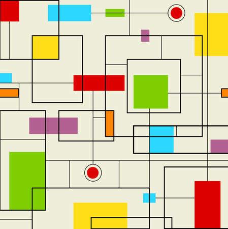 현대 패턴 - 검정 및 다채로운 사각형의 추상 패턴. Eps10 일러스트