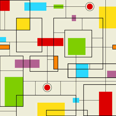 Modern Pattern - Abstract pattern of black and colorful squares. Eps10 Ilustração