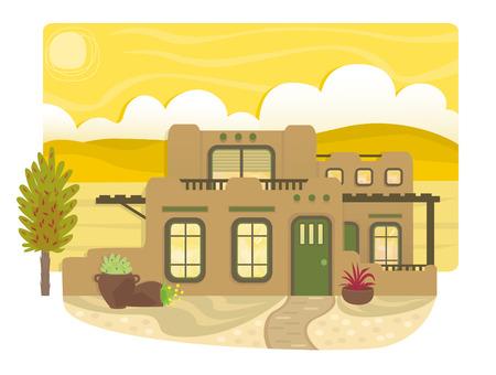푸에블로 스타일 하우스 - 2 층, 발코니 및 백그라운드에서 사막 풍경 앞 마당 푸에블로 스타일의 집 외관입니다. EPS10 일러스트