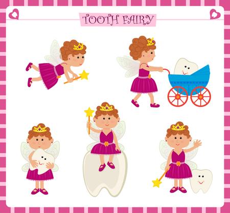 girl magic wand: Tooth Fairy Set - Cute cartoon set of five tooth fairy and a cute baby tooth. Eps10