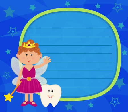 girl magic wand: Tooth Fairy Sign - Tooth fairy and a baby tooth are standing next to a blue blank sign and in front of a blue background with stars. Eps10