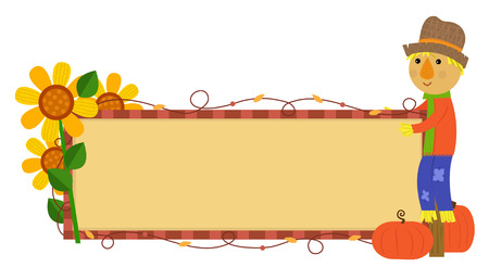 autumn scarecrow: Scarecrow Fall Banner - Festive autumn banner with scarecrow, pumpkins and flowers. Eps10