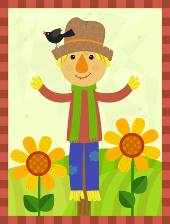autumn scarecrow: Happy Scarecrow - Cute scarecrow with a bird on his hat is standing in a field with flowers and a stripes border around it. Eps10