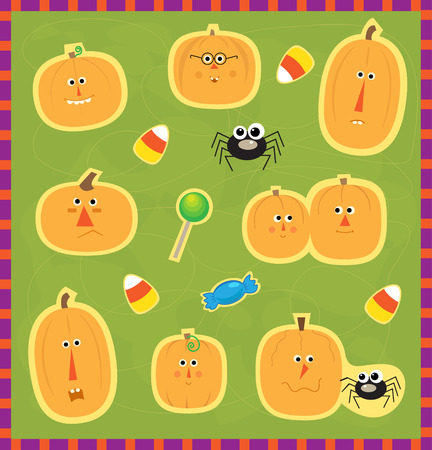 pout: Pumpkin Faces Stickers - Cute set of different pumpkin faces, spider and candies. Eps10