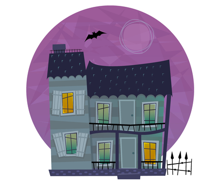 residential house: Spooky House - Two story house with crooked windows and doors Illustration