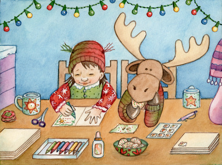 christmas cute: Card Making - Watercolor illustration of a girl and her moose friend making Christmas cards. Stock Photo