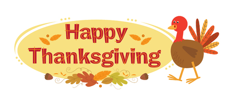 thanksgiving art: Thanksgiving Sign With Background - Happy Thanksgiving Sign with cartoon turkey, autumn leaves and yellow elliptic background.