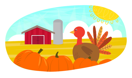 silos: Turkey Day - Cute clip art of turkey and pumpkins in front of a farm.