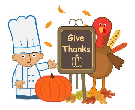 give: Give Thanks Chef - Cute chef and turkey with give thanks menu board. Eps10