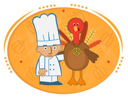relationships human: Chef and Turkey - Cute chef and his turkey friend in front of a decorative background. Illustration