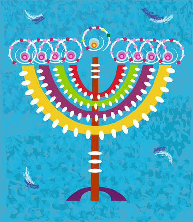 Hanukkah Card - Hanukkah card with stylized and colorful menorah on a decorative blue background.