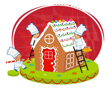 chef cartoon: Chefs and Gingerbread house - Cute chefs are decorating a gingerbread house.