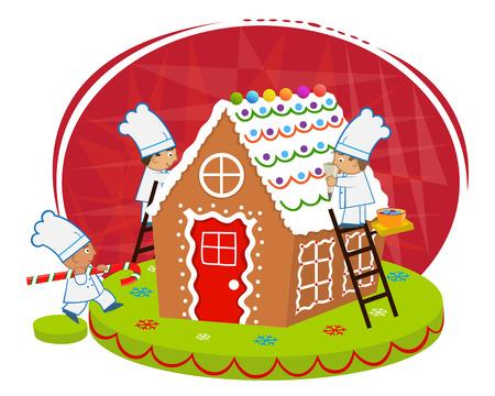 chef caricatura: Chefs y casa de pan de jengibre - cocineros lindos a decorar una casa de pan de jengibre. Vectores