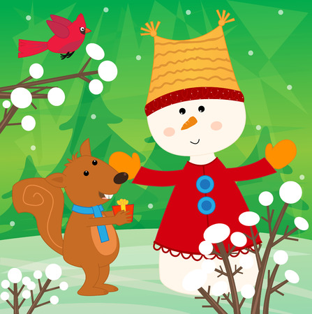 winter scene: Snowman and Squirrel - Cheerful winter scene of a squirrel giving present to a cute snowman. Eps10 Illustration