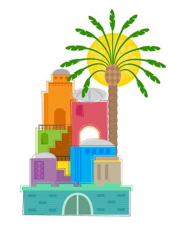 Vieille Ville - clip art coloré et stylisé d'une vieille ville du Moyen-Orient. Banque d'images - 44754131