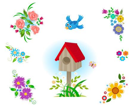 aves caricatura: Flores Clipart - Conjunto decorativo de seis acuerdos de flores diferentes, casa de aves y un pájaro volando. Eps10