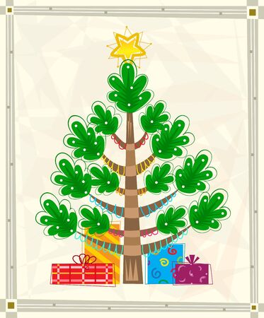 greeting stylized: Christmas Tree - Christmas greeting card of a stylized Christmas tree with presents, on a decorative off-white background with silver border. Eps10