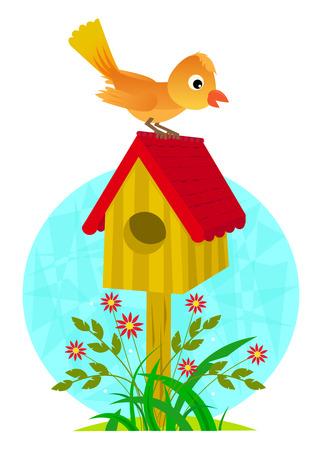jardines con flores: Birdhouse y p�jaro - clip-art lindo de un p�jaro que se coloca en el techo de una casa para p�jaros. Vectores