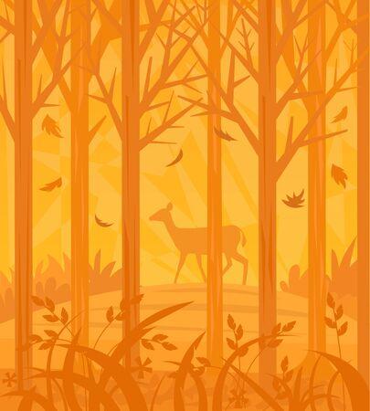 autumn scene: Autumn Scene - Decorative orange colored forest silhouette with a dear in the background.