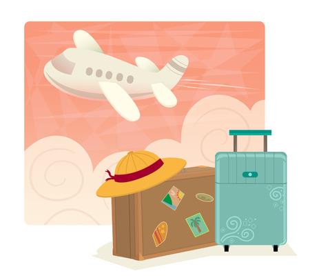 Air Travel - Vliegreizen illustraties van koffers in de voorkant van een roze hemel met wolken en een vliegende vliegtuig. Eps10