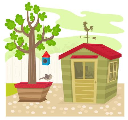 -庭の小屋と庭の上に、鳥の巣箱とツリーの横にある天候ベーンを流した。Eps10