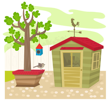 shed: Garden With Shed - Garden shed with a weather vane on top, next to a tree with birdhouse and a bird. Eps10 Illustration