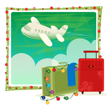 bag cartoon: Holiday Travel - Green and red luggage with Christmas lights in front of a green sky with clouds and a flying airplane. Eps10