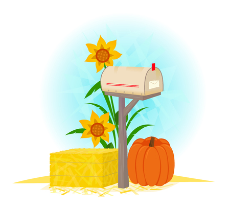 Mailbox And Haystack - Autumn clip-art of a mailbox, haystack, pumpkin and flowers. Eps10