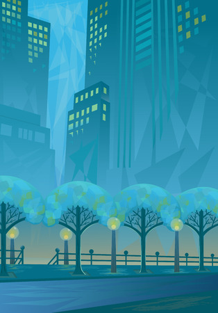 City in Blue - View of a city street before dawn. Eps10