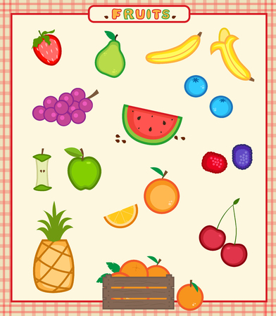 apples and oranges: Fruits - Cartoon set of sixteen colorful fruits icons. Eps10