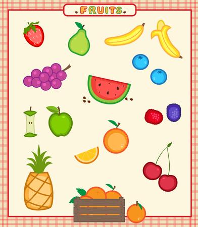 Fruits - Cartoon set van zestien kleurrijke vruchten pictogrammen. Eps10 Stock Illustratie