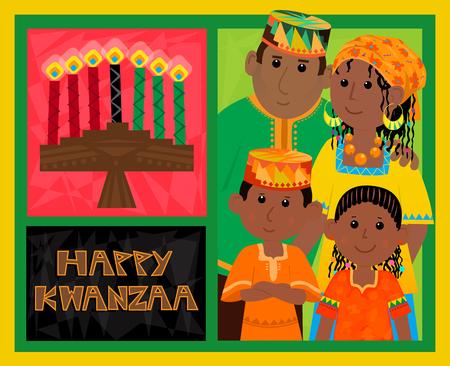 african american family: Kwanzaa Card - Cute Kwanzaa greeting card with kinara, happy Kwanzaa text and African American family. Eps10 Illustration