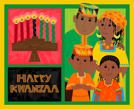 Kwanzaa Card - Cute Kwanzaa greeting card with kinara, happy Kwanzaa text and African American family. Eps10 Illustration