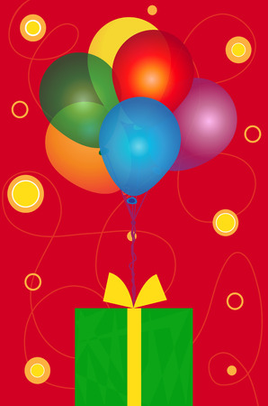red happiness: Balloons and Present - Colorful balloons with a green present on a decorative red background. Eps10 Illustration