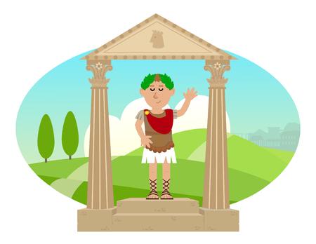 Julius Caesar - Cartoon van Julius Caesar zich op een voetstuk en een landschap van het oude Rome op de achtergrond.