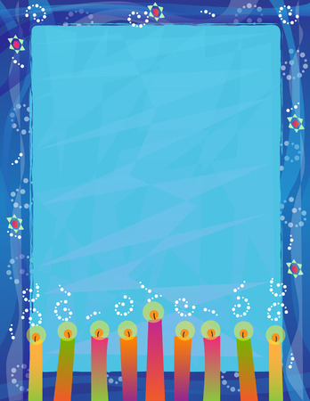Hanukkah Blank Sign - Decorative blank sign with colorful candles and blue border with Star of David.