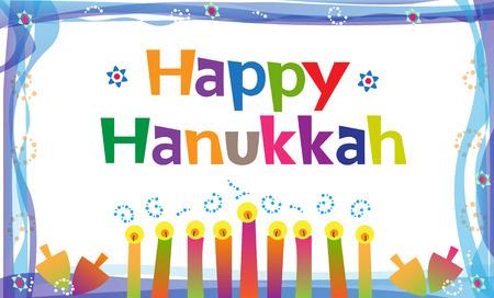 hanukkah: Happy Hanukkah Sign - Colorful Hanukkah Banner with candles and dreidels.