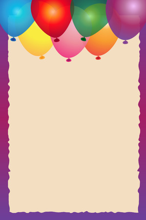 blank space: Balloons Note - Colorful balloons with purple border and blank space in the center.