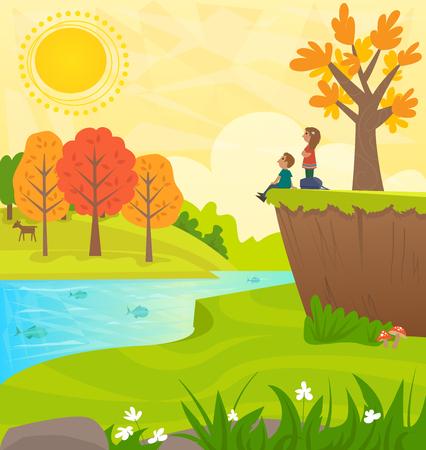 Wandelen Day - Mooi Landschap van heuvels, bomen, een rivier met vis, en een man en een vrouw op een heuveltop kijken naar het uitzicht.