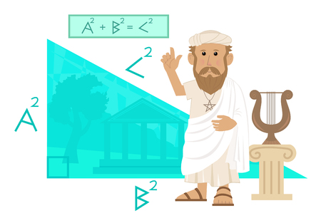 toga: Pythagoras - Cute cartoon of Pythagoras pointing at his formula and a big right angled triangle with Greece landscape in the background.