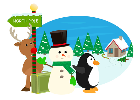 christmas cute: January First - Cartoon snowman, reindeer and penguin are hitchhiking to the north pole  Illustration