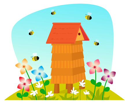 bee on flower: Beehive - Cute cartoon beehive on a field with flowers and bees. Eps10 Illustration