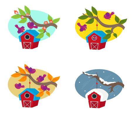 계절주기 - 새와 그들의 birdhouse 사계절의 귀여운 그림. Eps10 일러스트