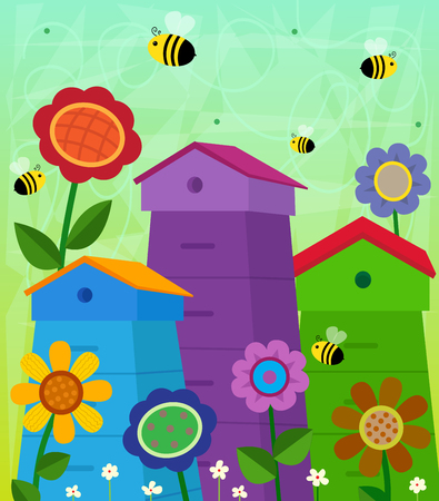 Beehives - Decorative and colorful beehives with flowers around it and cute flying bees. Stock Illustratie