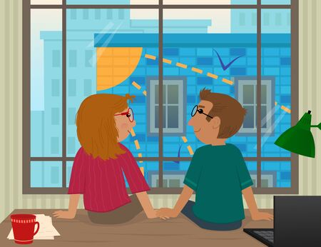 happy couple: Together - Young couple are sitting on an office desk in front of a big window with a cityscape and looking at each other. Eps10 Illustration