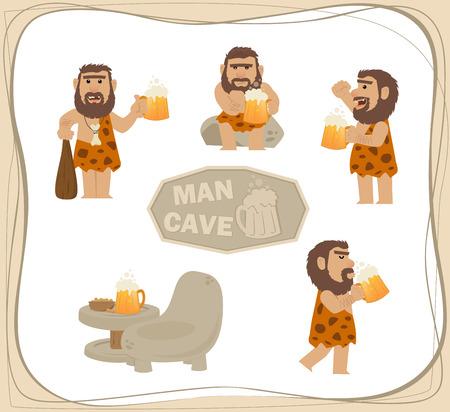 Caveman Met Bier - clip Cartoon kunst van een holbewoner met een biertje in verschillende poses. Eps10