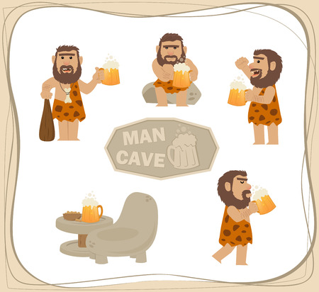 beer drinking: Caveman With Beer - Cartoon clip art of a caveman with a beer in different poses. Eps10