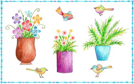 artistic flower: Flowers and Birds Icons - Colorful icons of flowers and birds made with watercolor crayons and pen.
