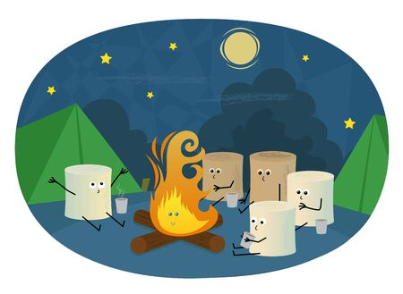 night art: Marshmallows Camping - Cute marshmallows are sitting around a campfire drinking hot chocolate. Illustration